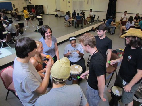 drumming class students learning by playing drum games