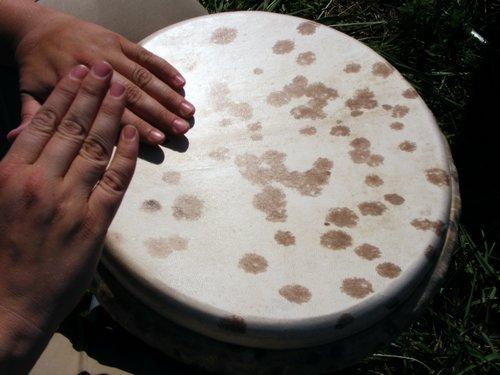 hands on a djembe drum head